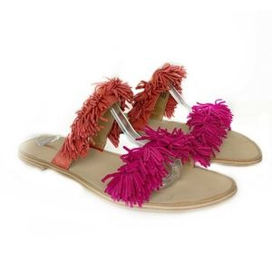 Anthropologie Matiko Azula Fringe Slides Sandals